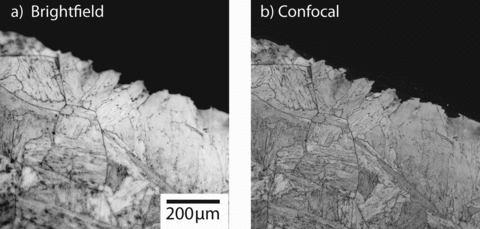 Figure 2:. (a) Conventional brightfield optical micrograph of a polished and...