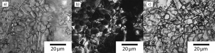 Figure 3:. (a) Conventional brightfield optical micrograph of a sintered Al2O3...