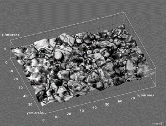A 3D topographic model of the surface of the sintered Al2O3 sample in Figure 3....